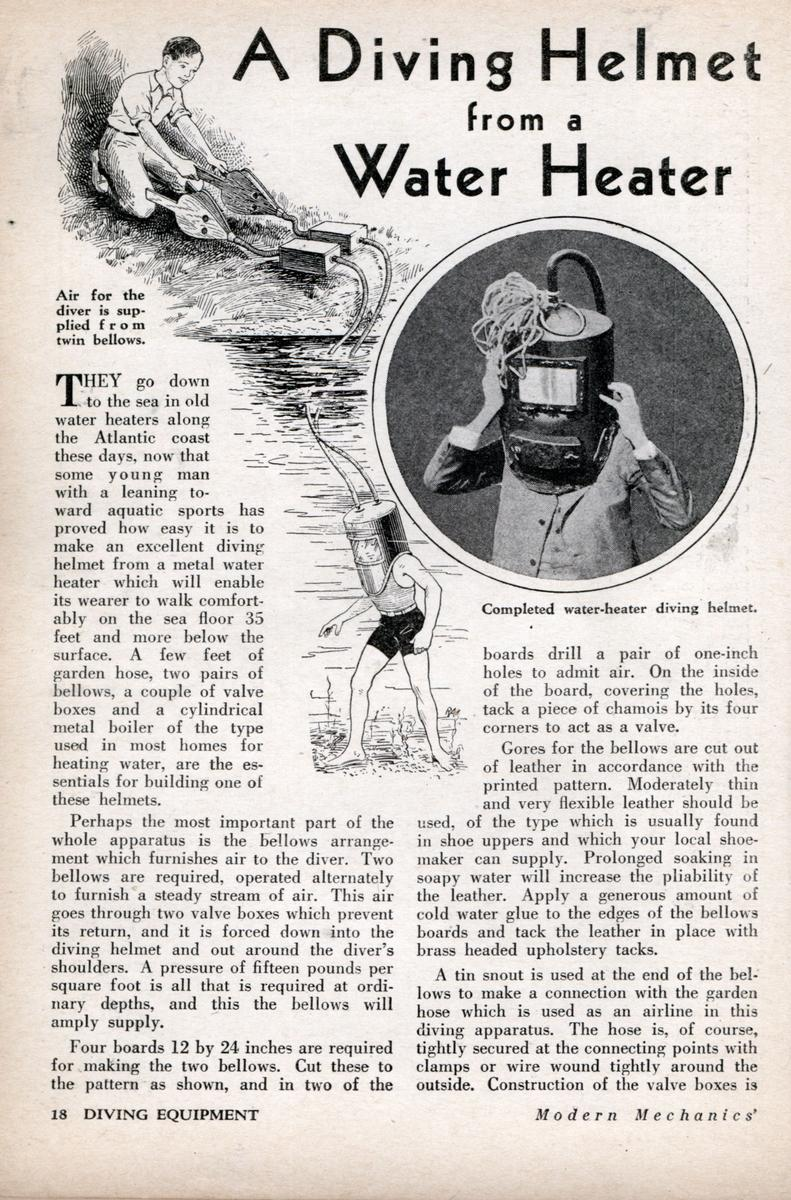 How to Build a Diving Helmet from a water heater - article from the 1930's