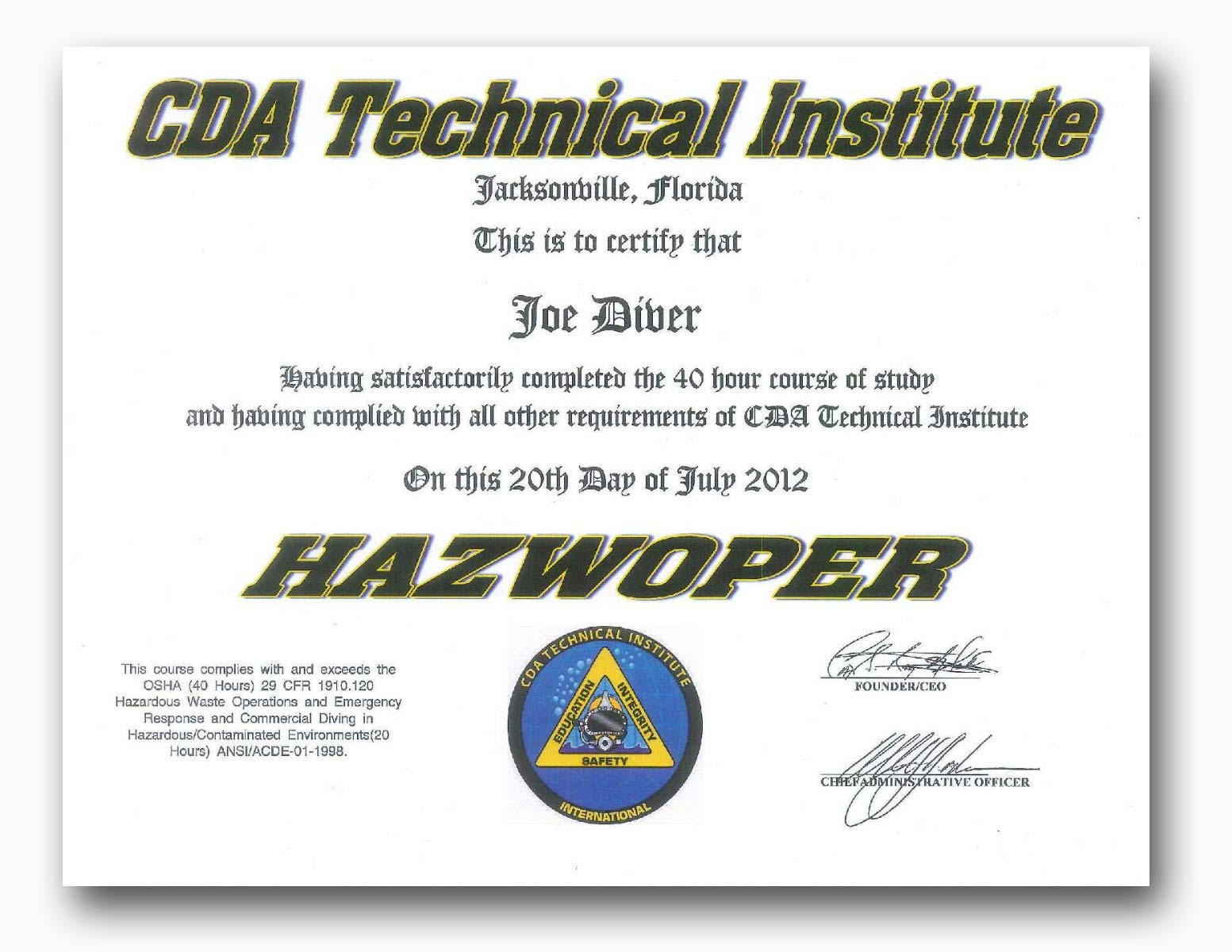 Available certifications admissions cda technical institute hazmat hazwoper certification from cda technical institute 1betcityfo Choice Image